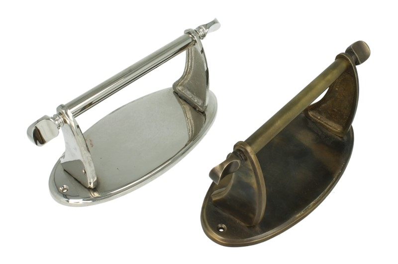 Strakke toiletrolhouder in brons en glanzend nikkel